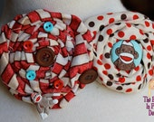 Silly sock monkey fabric rosette hair barrette......................The Princess in Pigtails Designs