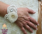 Satin & Organza Rosettes Wedding Wrist Wrap/Corsage.................The Princess in Pigtails Designs