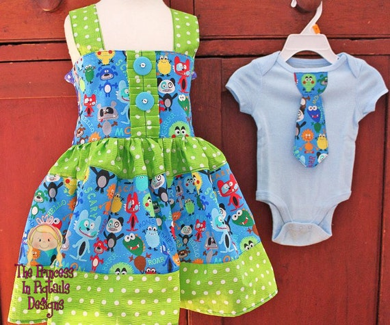 Little Monster-  Girls Knot Style Twirl Dress................The Princess in Pigtails Designs