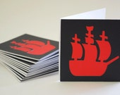 Pirate Note Cards In Your Choice of Color Qty 12 By Your Little Cupcake