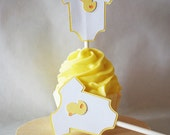 Baby Ducky Baby Body Suit Cupcake Toppers In Your Choice of Color Qty 12 By Your Little Cupcake