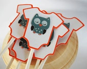 Baby Owl Baby Body Suit Cupcake Toppers In Your Choice of Color Qty 12 By Your Little Cupcake