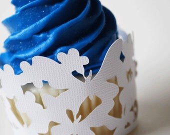 Lace Butterfly Wedding Cupcake Wrappers In Your Choice of Color Qty 12 By Your Little Cupcake