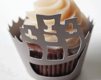 Pirate Ship Cupcake Wrappers In Your Choice of Color Qty 12 By Your Little Cupcake