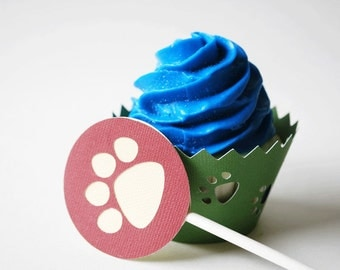 Tiger Paw Cupcake Topper In Your Choice of Color Qty 12 By Your Little Cupcake