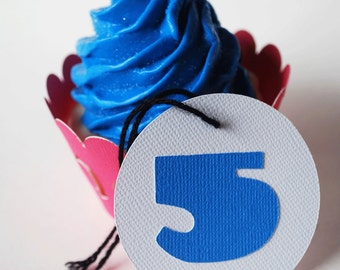 Number Gift Tags In Your Choice of Color Qty 6 By Your Little Cupcake