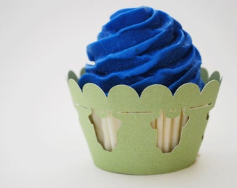 Baby Bodysuit Cupcake Wrappers In Your Choice of Color Qty 12 By Your Little Cupcake
