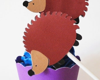 Hedgehog Cupcake Toppers In Your Choice of Color Qty 12 By Your Little Cupcake