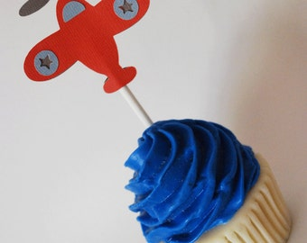 Airplane Cupcake Toppers In Your Choice of Color Qty 12 By Your Little Cupcake