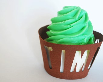 Time Out FootBall Cupcake Wrappers In Your Choice of Color Qty 12 By Your Little Cupcake