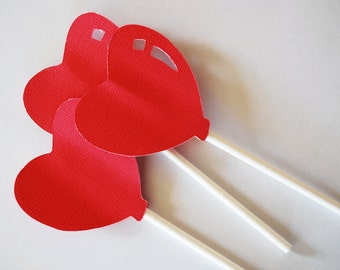 Burning Red Heart Cupcake Toppers Set of 12 By Your Little Cupcake