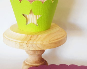 Star Cupcake Wrappers In Lime Purple and Robins Egg Blue Qty 12 By Your Little Cupcake