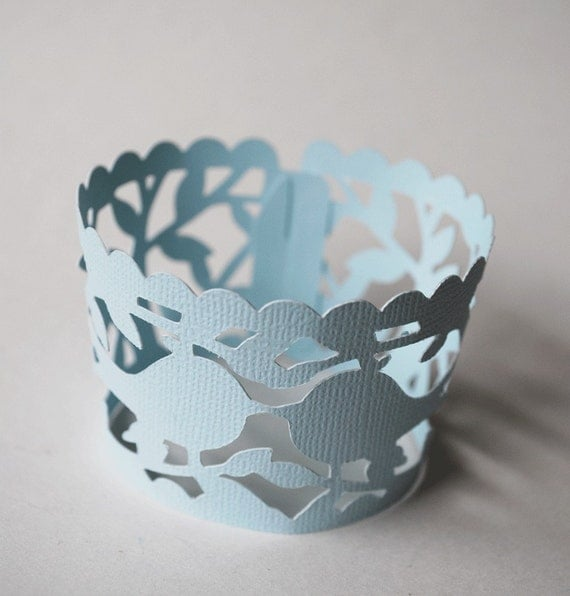 Lace Lovebirds Wedding Cupcake Wrappers In Your Choice of Color Qty 12 By Your Little Cupcake