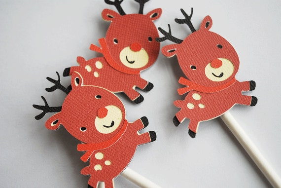 Rudolph Christmas Reindeer Cupcake Toppers In Your Choice of Colors Set of 12 By Your Little Cupcake
