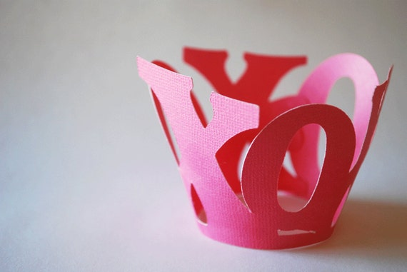 Valentines Day XOXO Cupcake Wrappers In Your Choice of Color Qty 12 By Your Little Cupcake