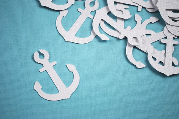Nautical Anchor Die Cuts in Textured White Set of 18 by Your Little Cupcake