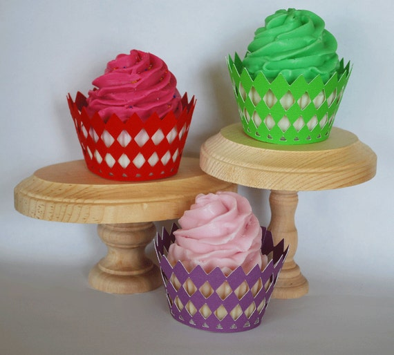 Diamond Checker Board Cupcake Wrappers In Your Choice of Color Qty 12 By Your Little Cupcake
