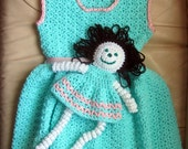 Crochet Jumper Dress and Doll - Child sleeveless dress - Child Dress and Doll - Green and Pink Dress and Doll -Child Size 4 to 6 - Item 3051