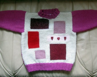 Precious in Pink Patches Sweater - Pink Year Round Sweater Jumper - Original Hand Knit Intarsia Girl Sweater - Child Size 4 - 5 - Item 3050