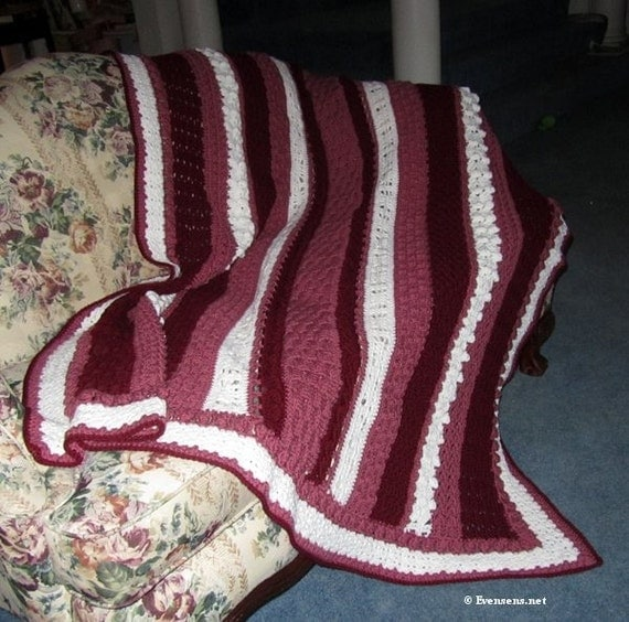 """Favorite Stitches Large Afghan Blanket - 71"""" x 54"""" Fits Couch or Bed - Red Pink White Afghan Blanket - Warm Textured Blanket- Item 3070"""