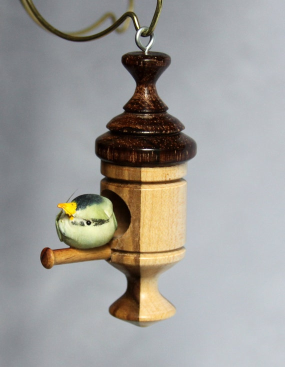 Miniature Wood Bird House Ornament