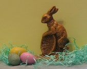 Yellow ware Grandpaw bunny with basket....  made from vintage chocolate mold....Very primitive .....