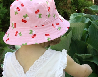 girl's bucket hat, cherry bloom, reversible, 3 sizes - LAST ONE
