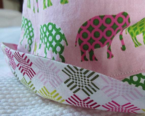 girl's bucket hat, elephant march, reversible, 5 sizes