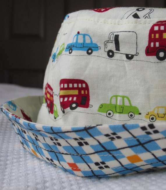 reserved for tanya - boy's sun hat, argyle cars, reversible, 5 sizes - LAST ONE