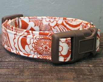 Orange Flower Tribal Dog Collar