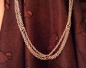 Long and Elegant Triple Strand Silver Chain