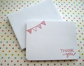 Thank You Notes - Flat Notecards - Set of 12 - Bunting, Pennants - Pick your colors
