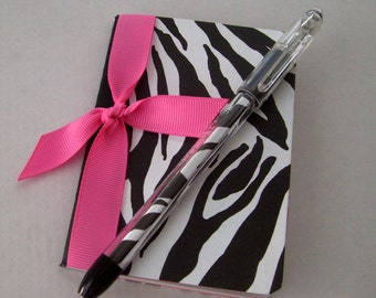 Mini Notebook - Zebra and Hot Pink - Matching Pen Included
