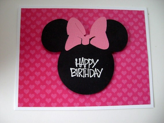 items similar to minnie mouse birthday card on etsy, Birthday card