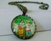 "Repurposed Vintage Advertising Art Pendant Necklace ""The Russian Tea Room"""