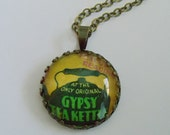 "Repurposed Vintage Advertising Art Pendant Necklace ""The Gypsy Tea Kettle"""