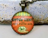 """Repurposed Vintage Advertising Art Pendant Necklace """"The Gypsy Tent"""""""