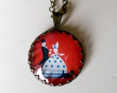 """Repurposed Vintage Advertising Art Pendant Necklace """"Victorian Couple"""" Valentines Day Gift"""