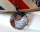 "Repurposed Vintage Advertising Art Pendant Necklace ""Star Spangled Banner"""