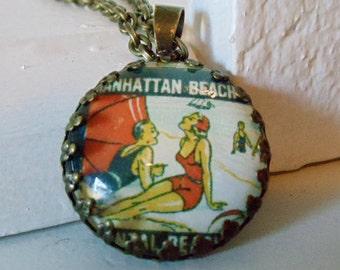 "Repurposed Vintage Advertising Art Pendant Necklace ""Manhattan Beach"""