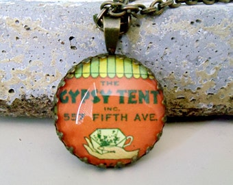 "Repurposed Vintage Advertising Art Pendant Necklace ""The Gypsy Tent"""