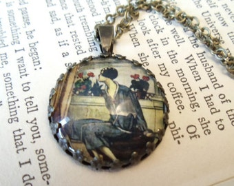 Repurposed Vintage French Fashion Art Pendant Necklace