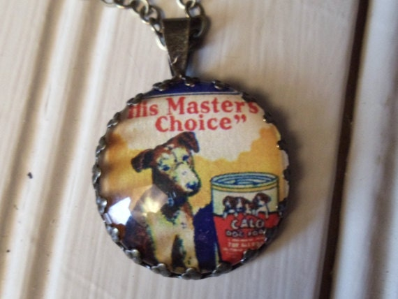"""Repurposed Vintage Advertising Art Pendant Necklace """"His Masters Choice Puppy"""""""
