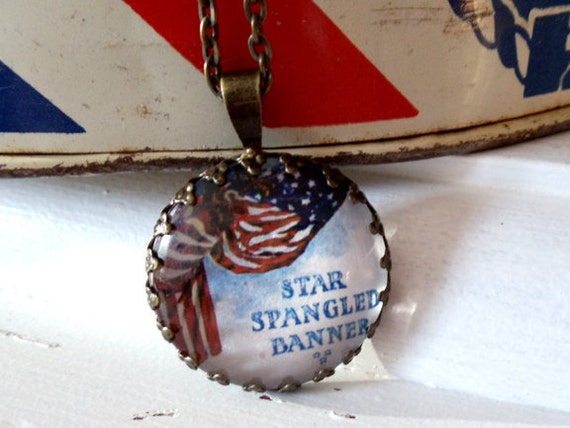 "Repurposed Vintage Advertising Art Pendant Necklace ""Star Spangled Banner"""