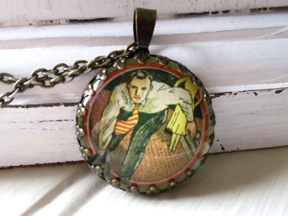"""Repurposed Vintage Advertising Art Pendant Necklace """"Bowling for Your Health"""" Vintage Bowler Image"""