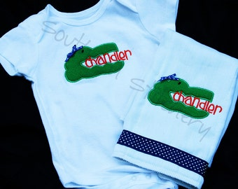 Gator Onesie And Burp Cloth Baby Gift Set Personalized Boutique Alligator Name Great University of Florida Inspired Fan Baby Gift