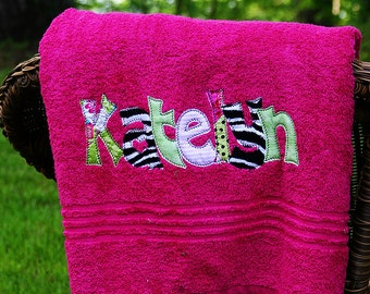 Applique Name Towel Personalized Bath Towel
