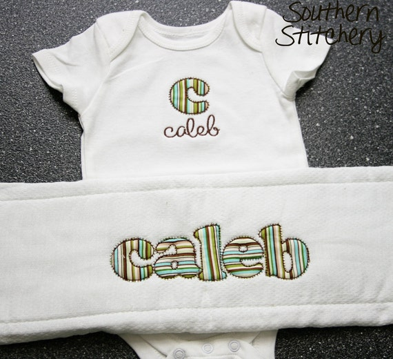 Boy Stripes Personalized  Appliqued Burp Cloth and Personalized Onesie Baby Gift Set Great Shower Gift