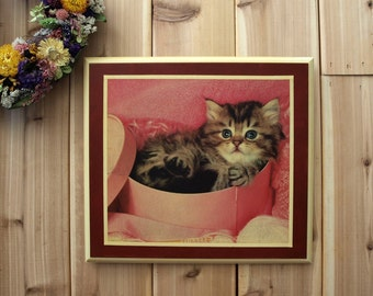 Wood Decoupage Wall Art Plaque Cute Kitten in Pink Basket