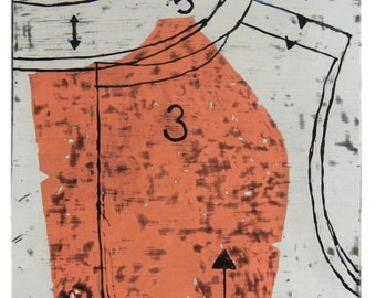 Bodice Side in melon, latex and encaustic on recycled wood panel